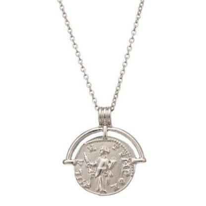 collier fin medaille argente