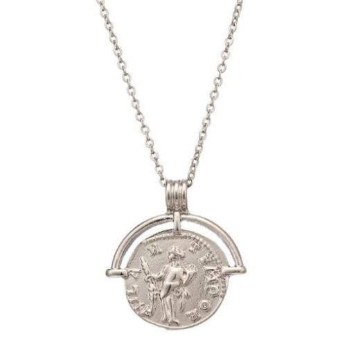 collier fin medaille argente