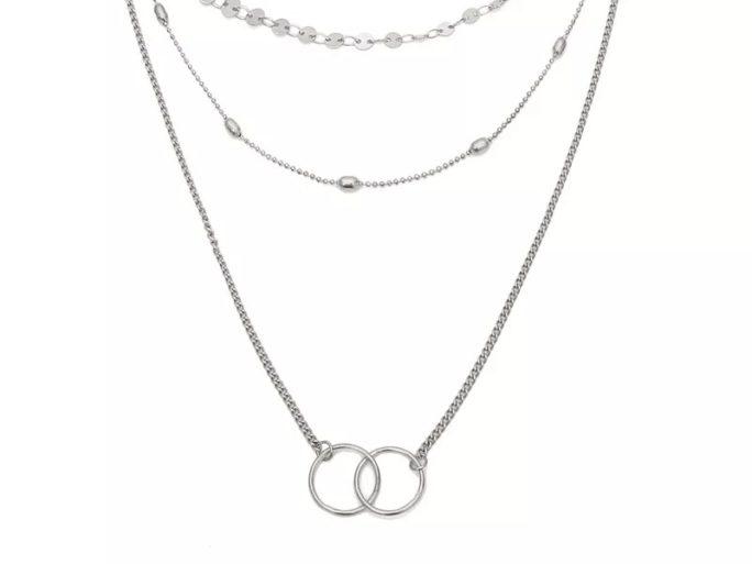 collier trois rangs argente