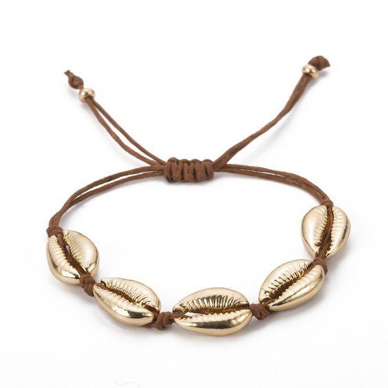 bracelet coquillage dore