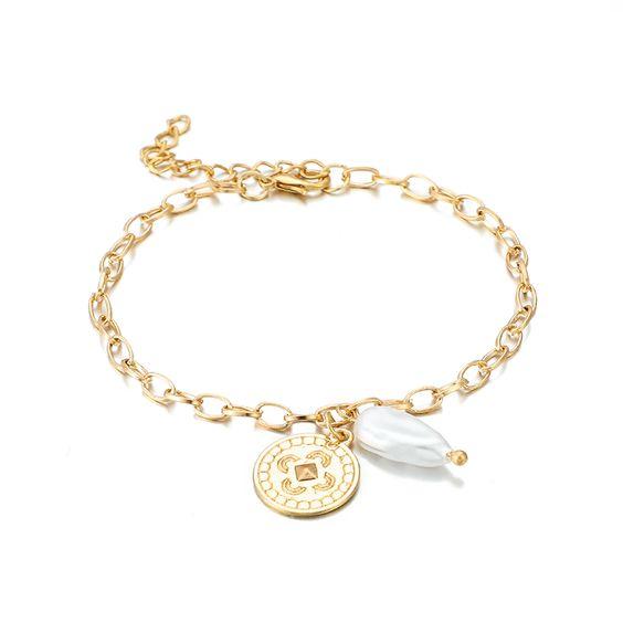 bracelet medaille dore