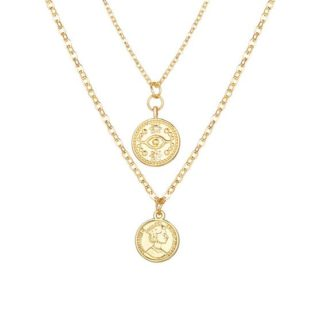 collier multirangs medaille tendance