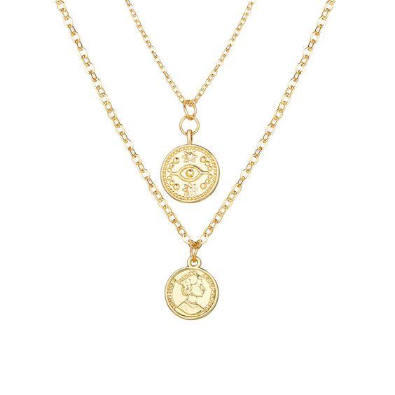 collier multirangs medaille tendance