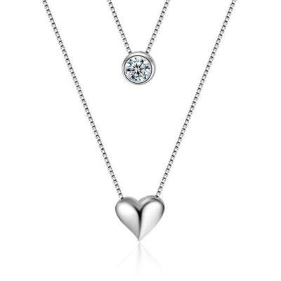 bijoux fantaisie collier coeur argent