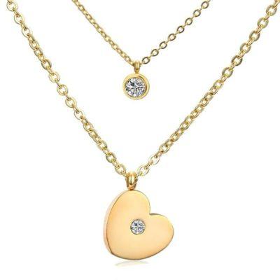 bijoux fantaisie collier coeur multirangs