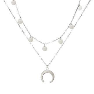 collier croissant de lune argente