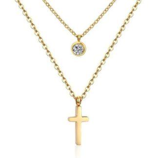 collier multirangs croix dore