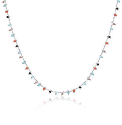 collier ras du cou multicolore