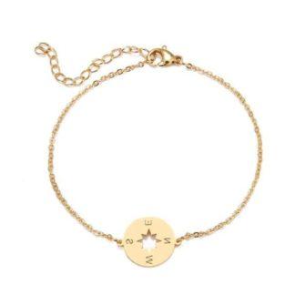 bracelet boussole plaque or