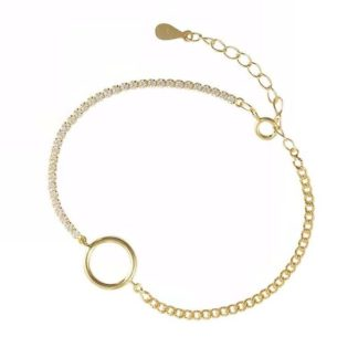bracelet cercle plaque or