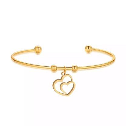 bracelet jonc coeur plaque or